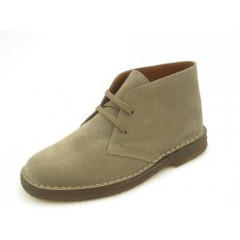 Men's sportive laced ankle shoe in beige suede - Available sizes:  36, 45