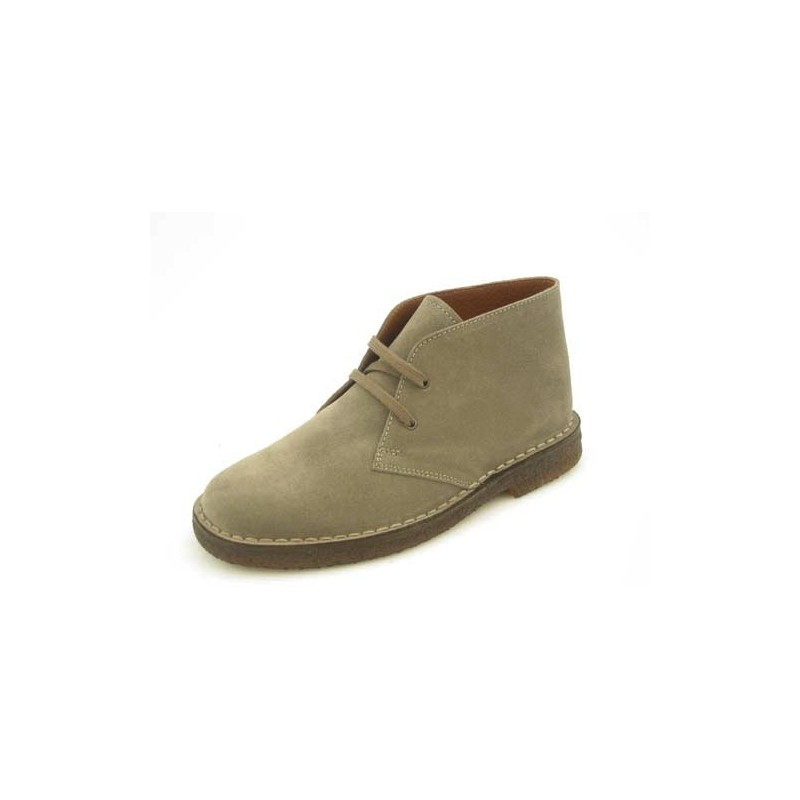 Shoe with laces in dark beige suedeleather - Available sizes:  36, 45