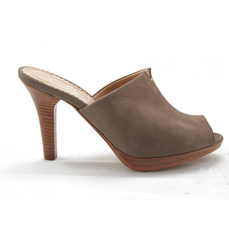 Platform mules in taupe nubuck leather heel 9 - Available sizes:  34