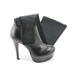 Woman's platform boot in black leather and elastic fabric heel 15 - Available sizes:  42