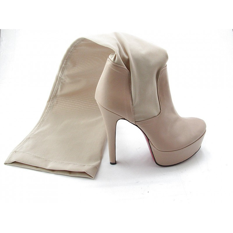 Woman's platform boot in beige leather and elastic fabric heel 15 - Available sizes:  42