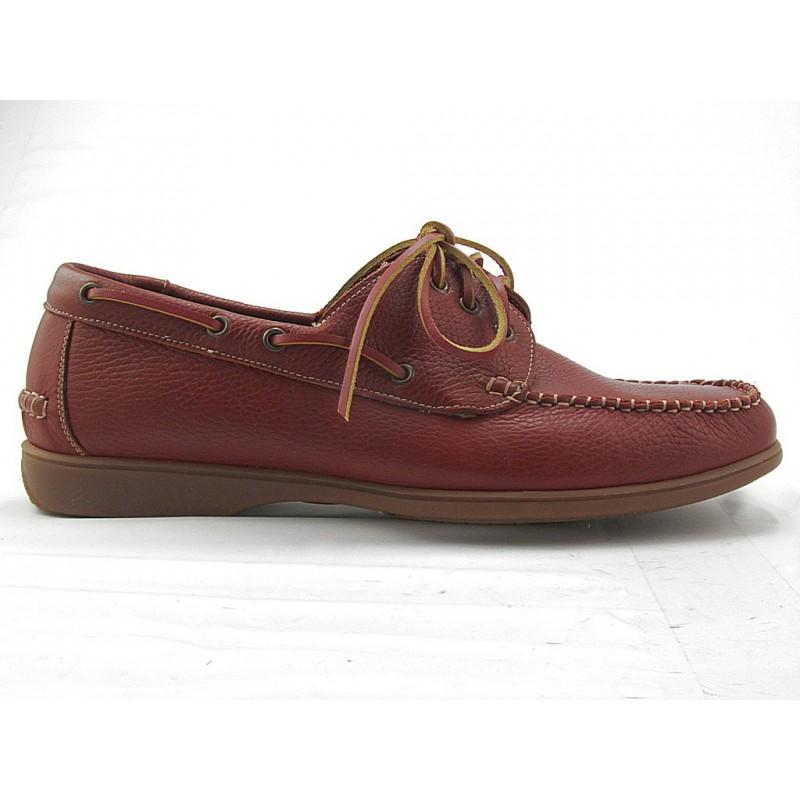 Zapato deportivo con cordones para hombres en piel de color cuero oscuro - Tallas disponibles:  47