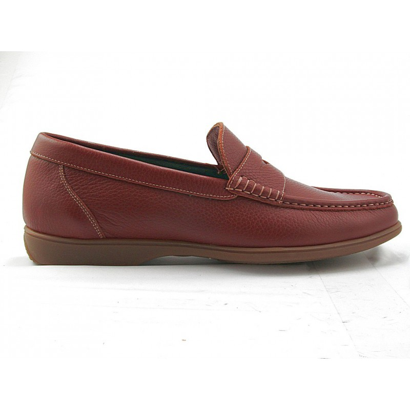 Moccasin for men in dark tan leather - Available sizes:  51
