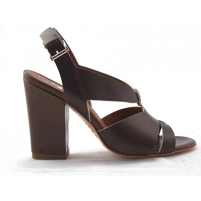 Woman's sandal in dark brown leather heel 9 - Available sizes:  42
