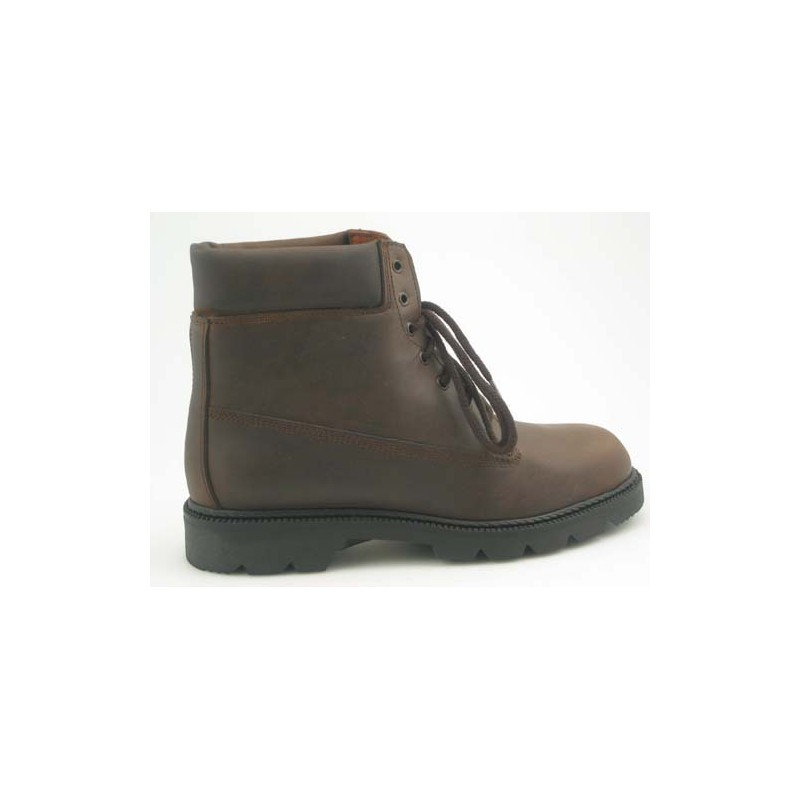Anklehigh shoe with laces in brown leather - Available sizes:  46