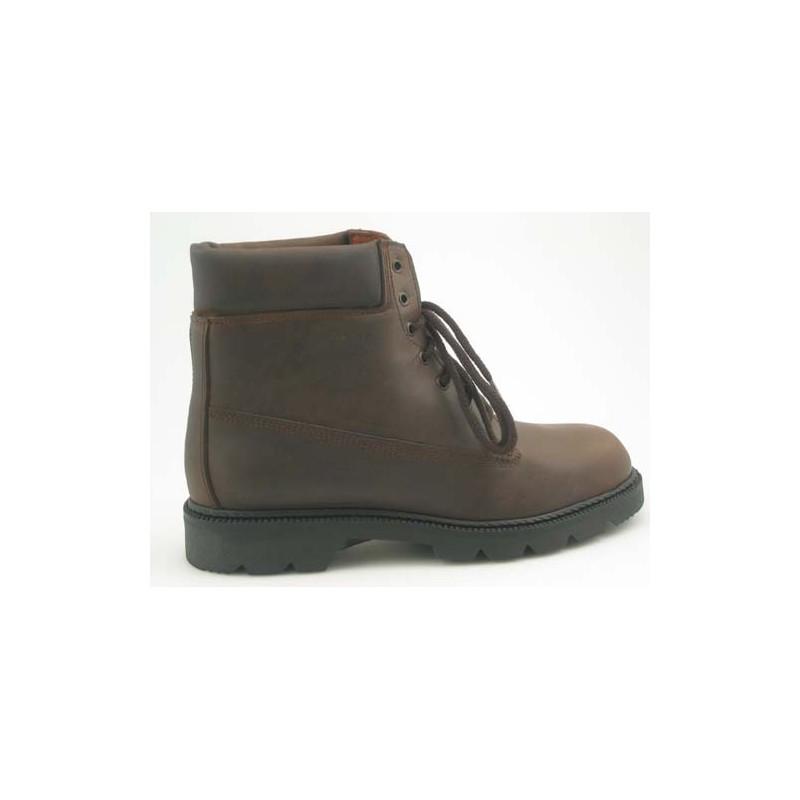 Bottines avec lacets en cuir brun - Pointures disponibles:  46