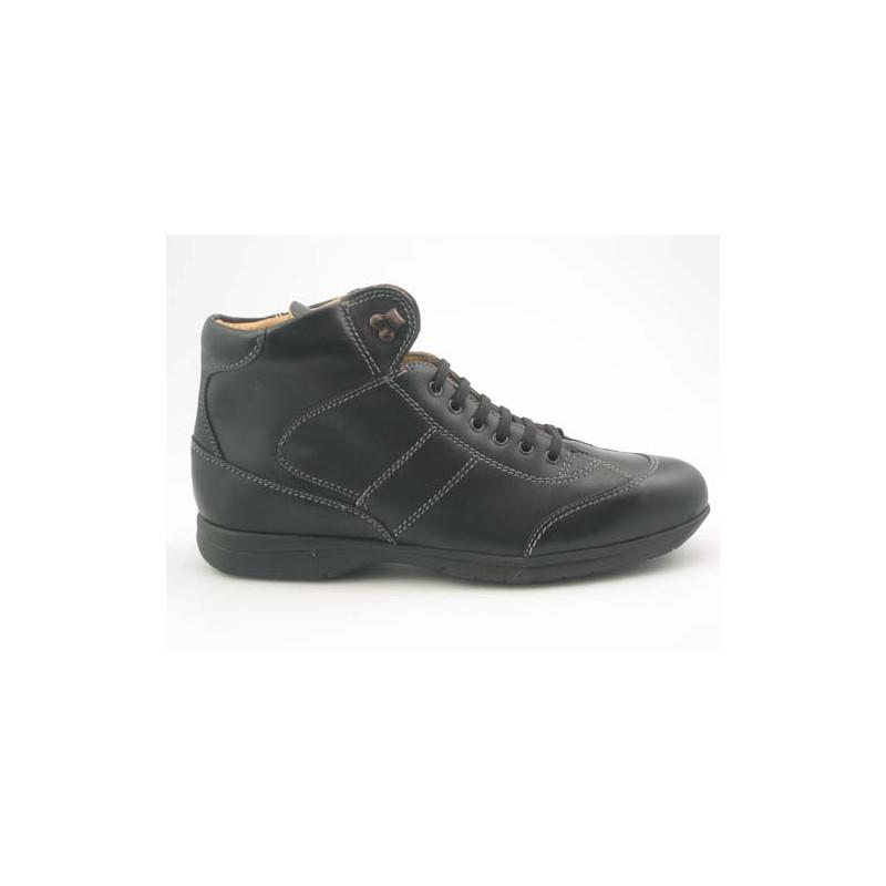 Chaussure sportif à lacets pour hommes en cuir noir - Pointures disponibles:  46