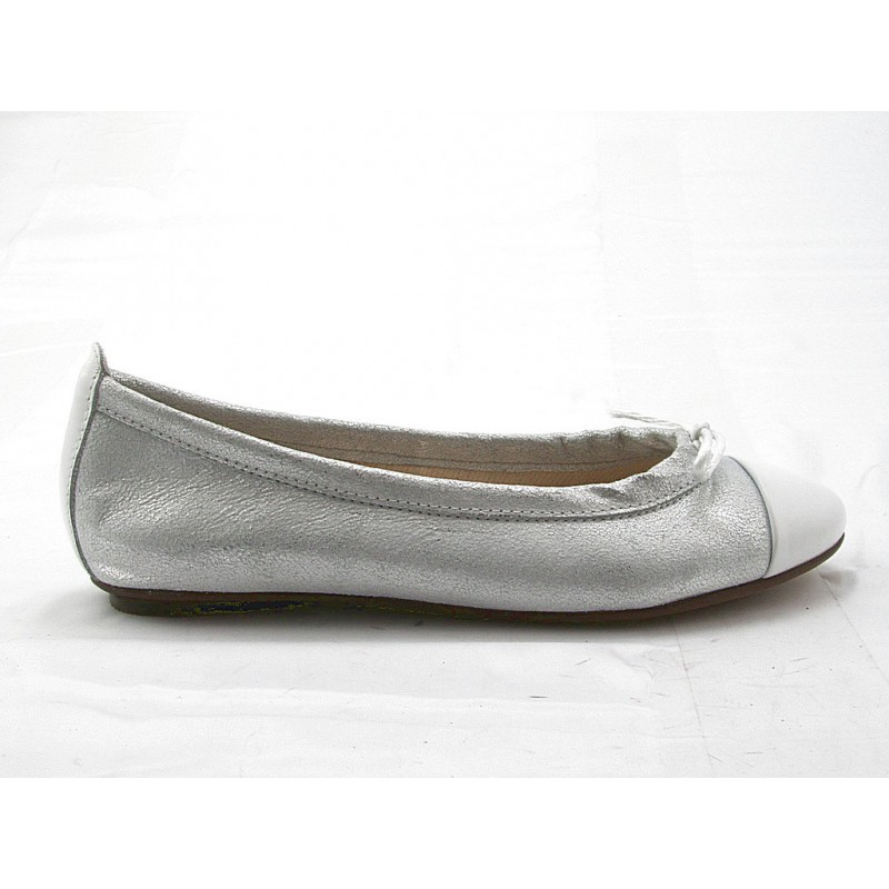 Woman's ballerina with bow in white leather and silver printed leather heel 1 - Available sizes:  33