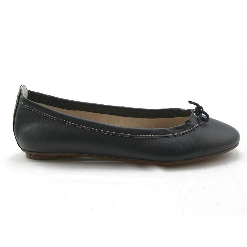 Ballerine pour femmes avec noeud en cuir bleu foncé talon 1 - Pointures disponibles:  32