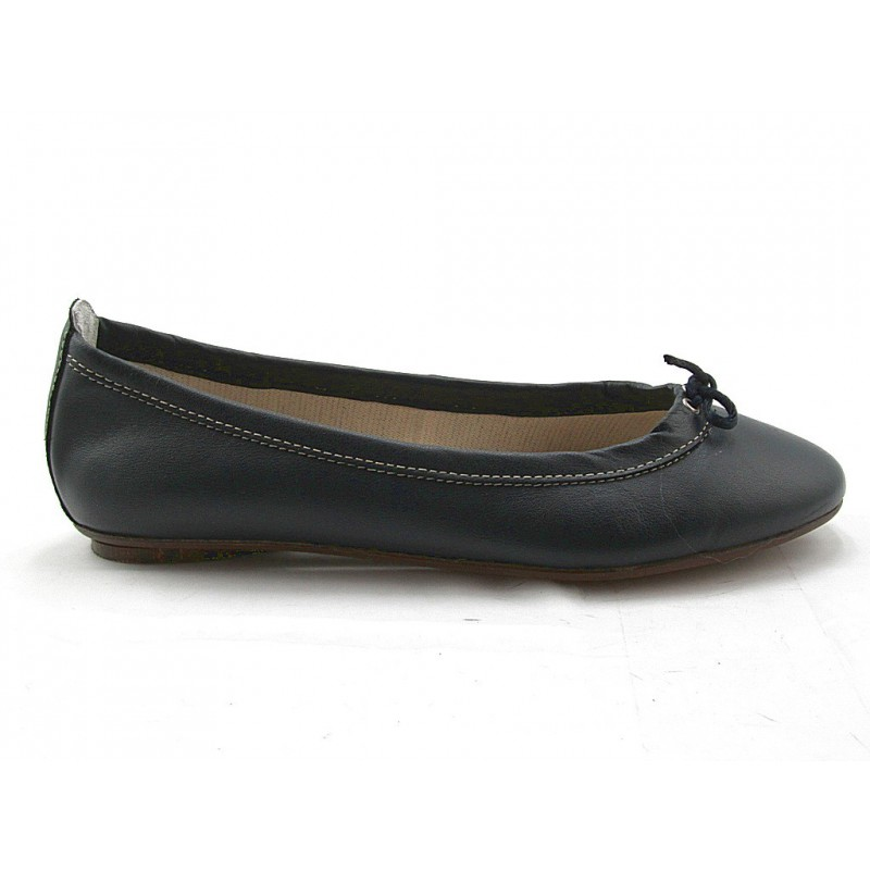 Woman's ballerina with bow in dark blue leather heel 1 - Available sizes:  32