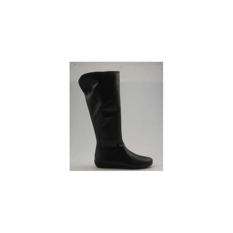 Damenstiefel mit Reißverschluß aus schwarzem Leder Keilabsatz 1 - Verfügbare Größen:  32
