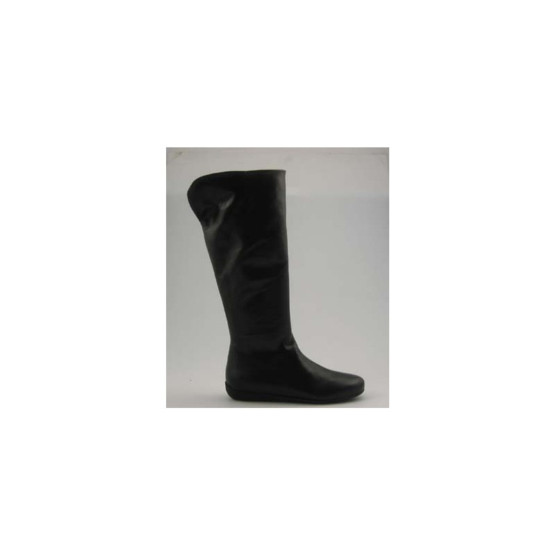 Woman's boot with zipper in black leather wedge heel 1 - Available sizes:  32