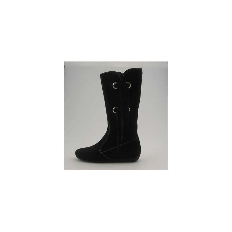Boot avec fermeture éclair et frange en daim noir - Pointures disponibles:  31