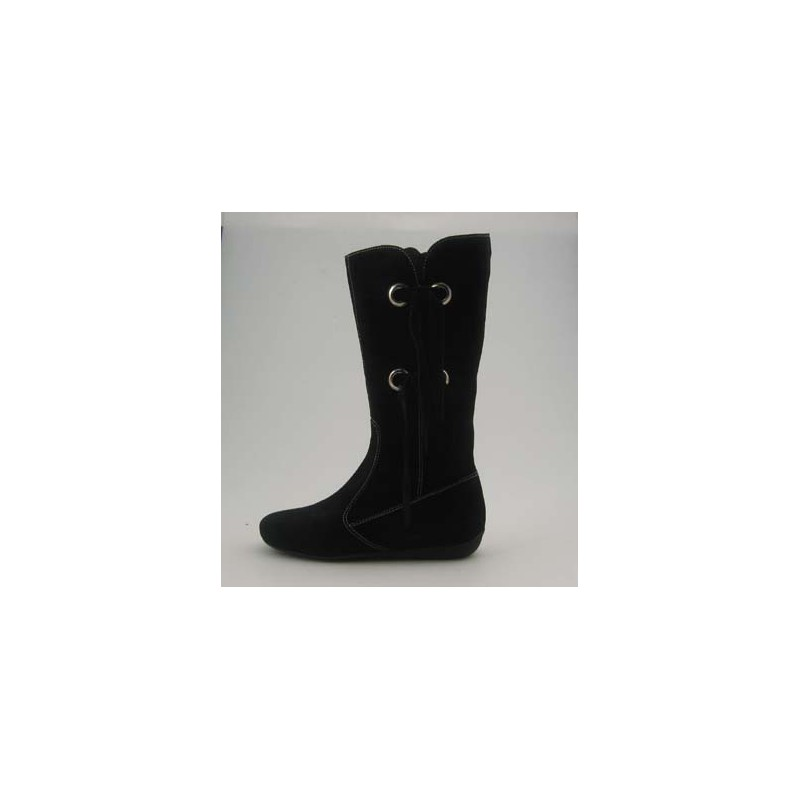 Boot with zipper and fringes in black suede wedge heel 1 - Available sizes:  31