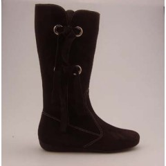 Boot with zipper and fringes in brown suede wedge heel 1 - Available sizes:  32