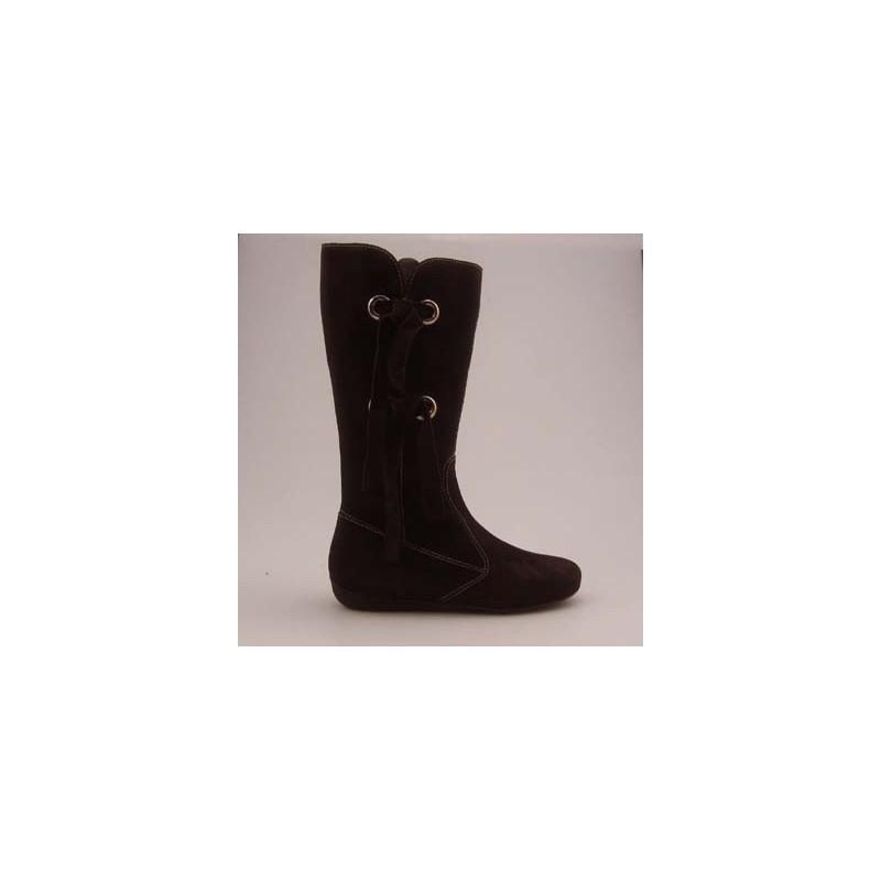 Stiefel mit Reißverschluss und Fransen aus braunem Wildleder Keilabsatz 1 - Verfügbare Größen:  32