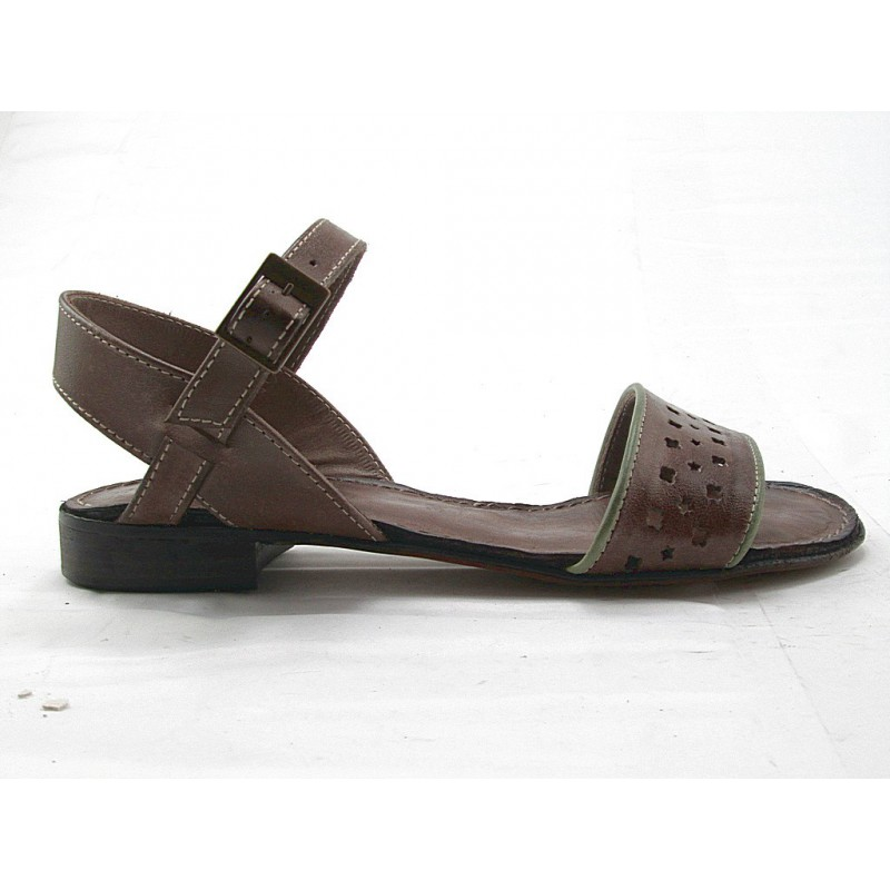 Sandale avec courroie en cuir perforé marron et vert talon 2 - Pointures disponibles:  32