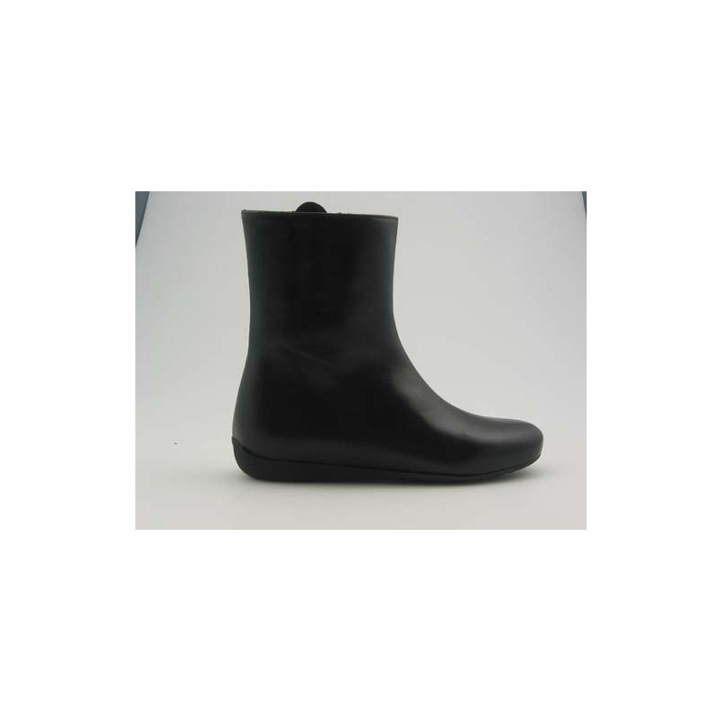 Woman's ankle boot with zipper in black leather wedge heel 1 - Available sizes:  32
