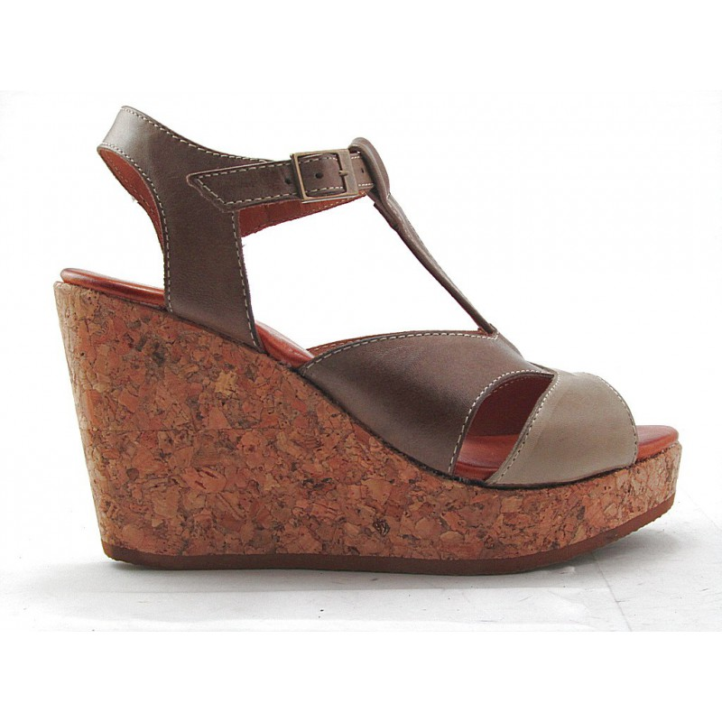 Cork wedge sandal with tstrap in brown and sand leather - Available sizes:
