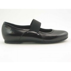Woman's ballerina with elastic band in black leather and patent leather heel 1 - Available sizes:  31