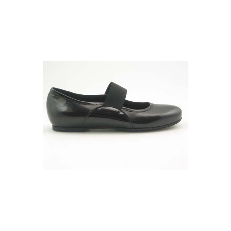 Woman's ballerina with elastic band in black leather and patent leather heel 1 - Available sizes:  31, 32