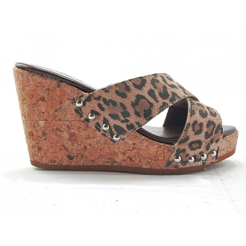 Open sabot with cork wedge in leopard printed leather - Available sizes: 42