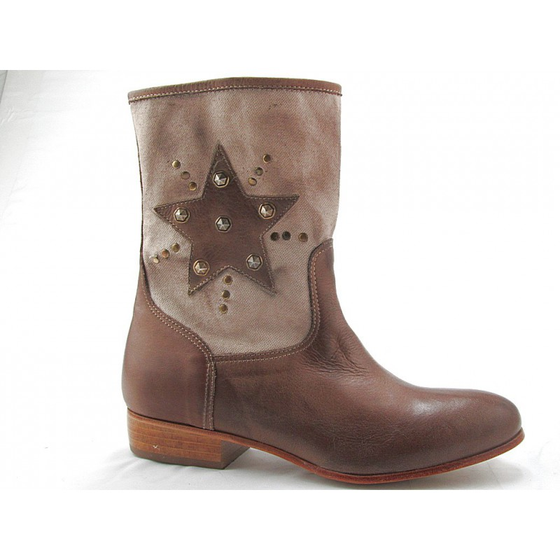 Ankleboot with zip in taupe leather - Available sizes:  32
