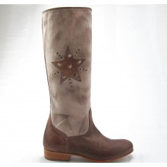 Woman's boot with zipper and studs in taupe leather and fabric heel 2 - Available sizes:  32, 42