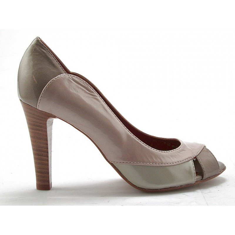 Woman's open toe shoe in beige, taupe, light green and rose pearled patent leather heel 9 - Available sizes:  42