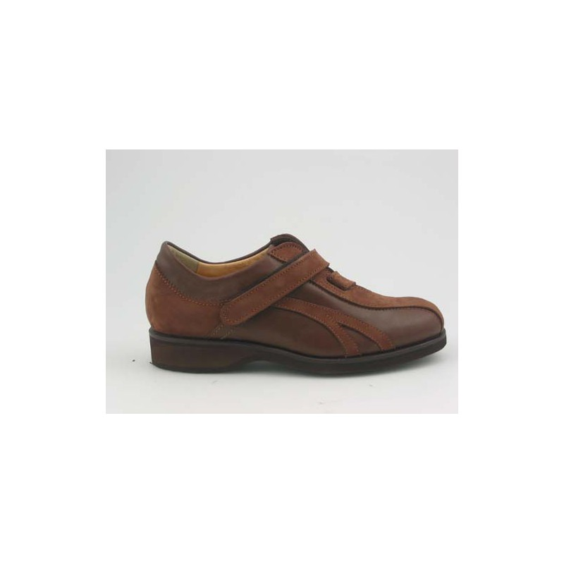 Men's shoe with velcrostrap in dark brown leather and tan-colored nabuck leather - Available sizes:  36, 37