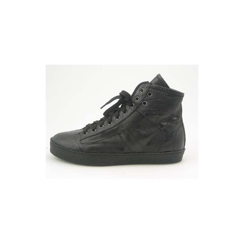 Chaussure sportif à la cheville avec lacets pour hommes en cuir noir - Pointures disponibles:  36