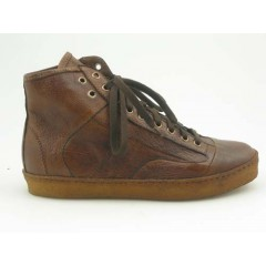 Men's sportive ankle-high shoe with laces in brown leather - Available sizes:  36