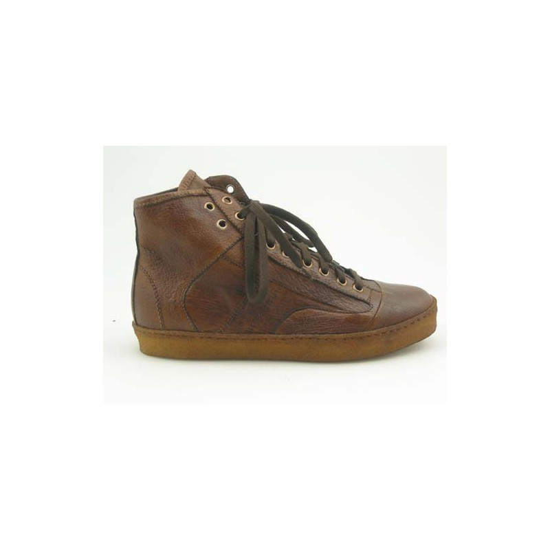 Anklehigh shoe with laces in light brown leather - Available sizes: 36