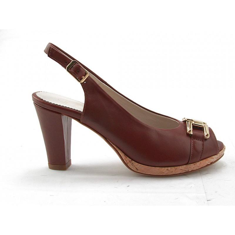 Sandalia comoda con plataforma en piel de color cuero - Tallas disponibles:  42
