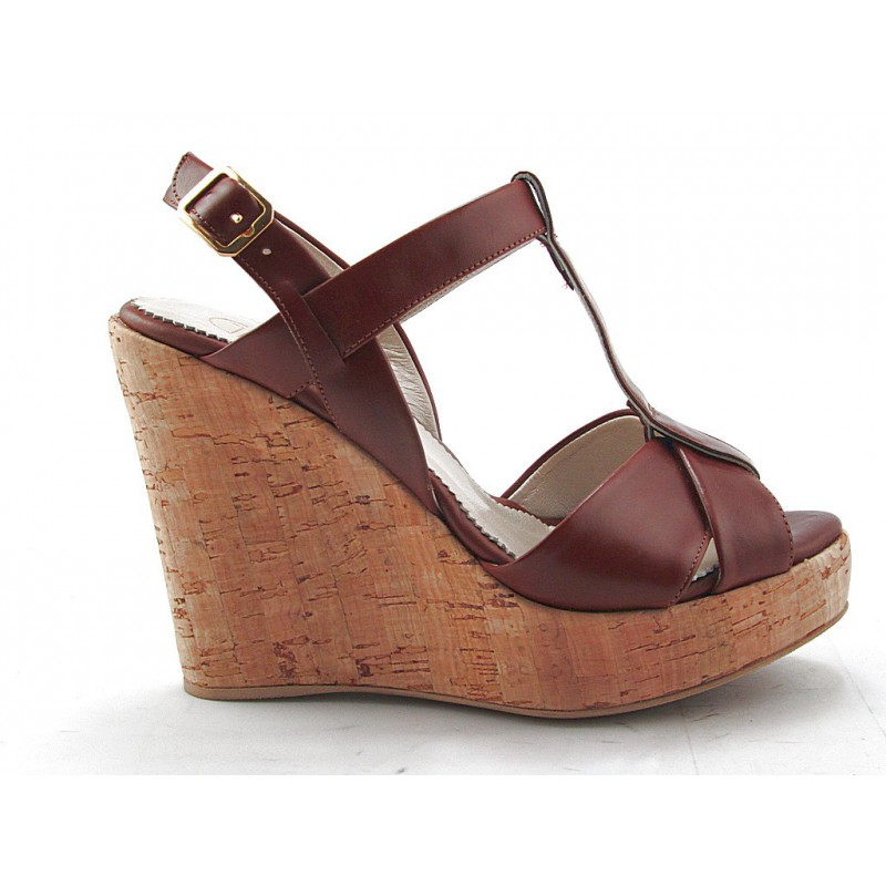 Sandal with cork wedge in tan leather - Available sizes:  42