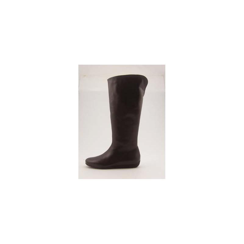 Bottes pour femmes avec fermeture éclair en cuir brun foncé talon compensé 1 - Pointures disponibles:  31, 32