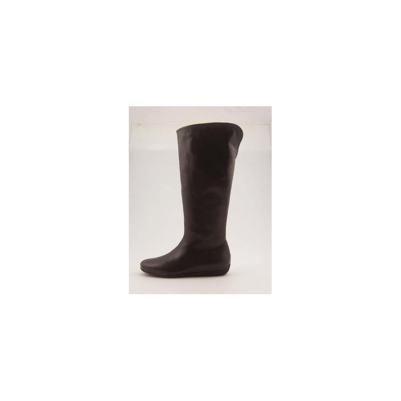 Woman's boot with zipper in brown leather wedge heel 1 - Available sizes:  31, 32