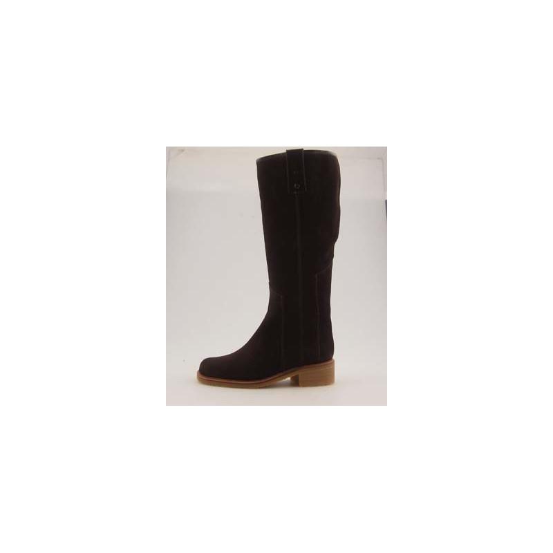 Boot with half zipfastener in dark brown suedeleather - Available sizes:  31