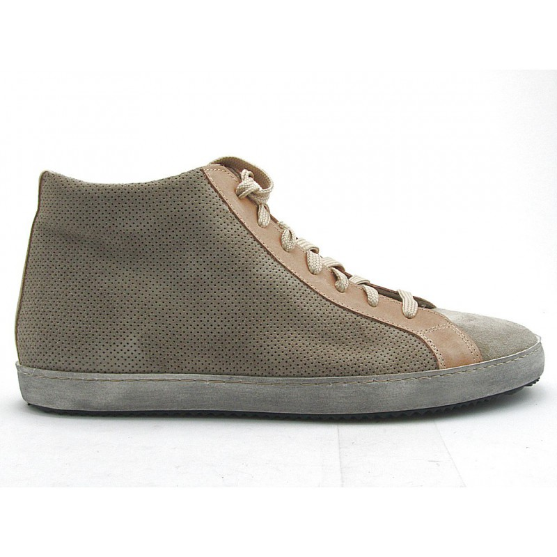 Laceup sportshoe with zip in taupe suede and sand leather - Available sizes: 32