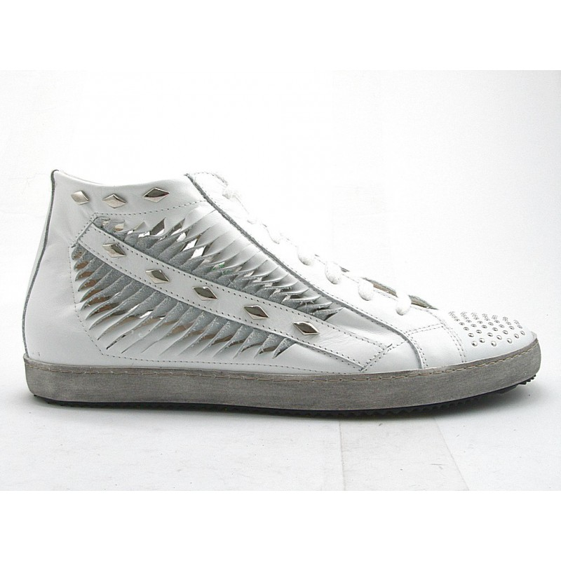 Laceup sportshoe with zip in white leather - Available sizes:  32