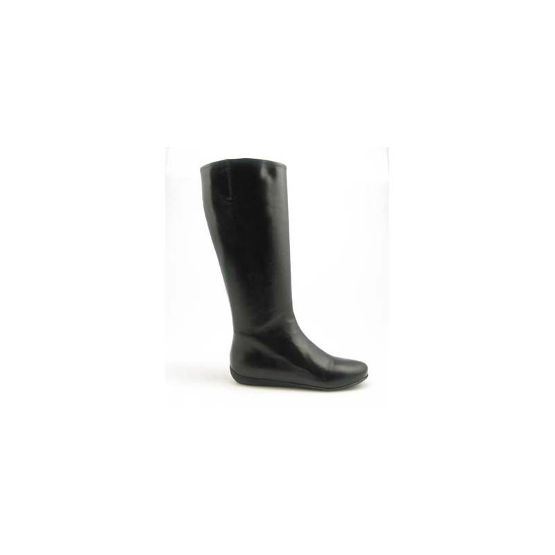 Damenstiefel mit Reißverschluß aus schwarzem Leder Keilabsatz 1 - Verfügbare Größen:  31, 32