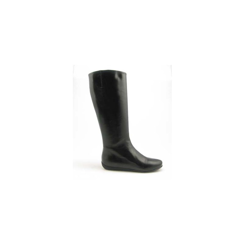 Womans' boot with zipper in black leather wedge heel 1 - Available sizes:  31, 32