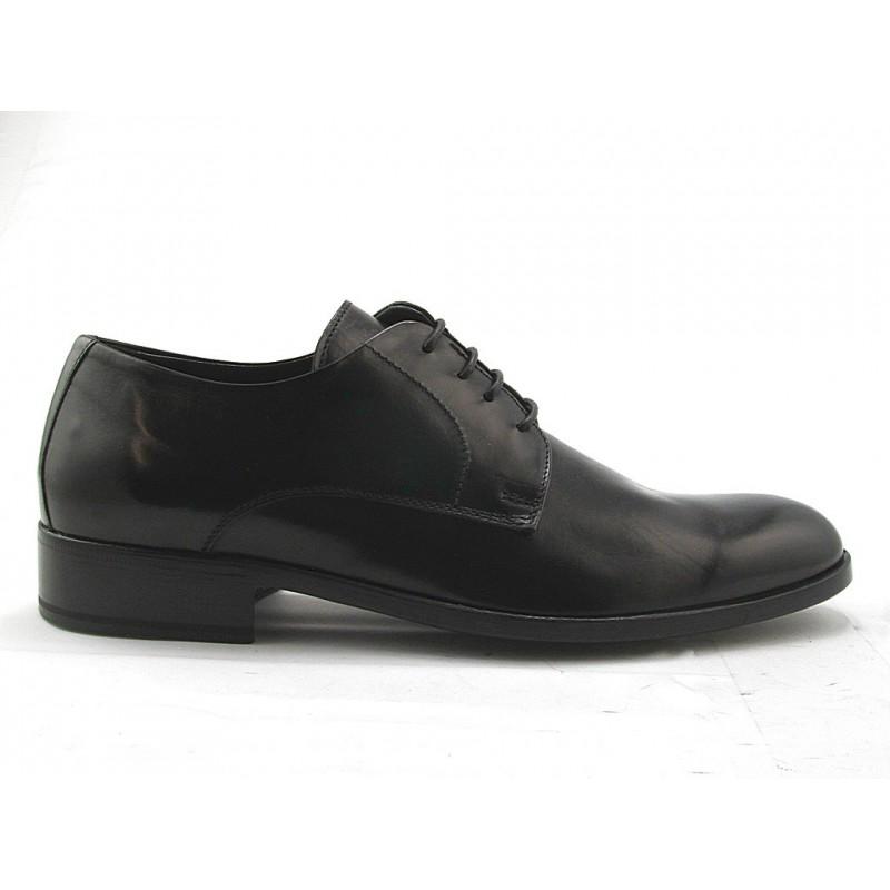Chaussure derby à lacets pour hommes en cuir lisse noir - Pointures disponibles:  51, 52