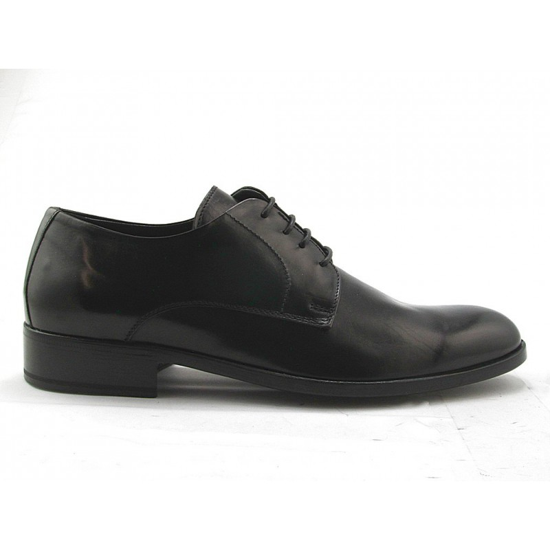 Men's derby shoe with laces in black smooth leather - Available sizes:  51, 52