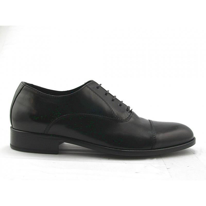 Chaussure richelieu à lacets et bout droit pour hommes en cuir noir - Pointures disponibles:  51, 52