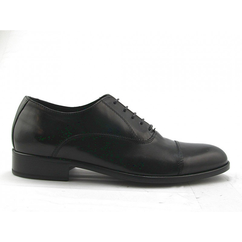 Men's Oxford shoe with laces in black leather - Available sizes:  51, 52