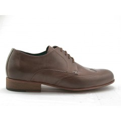 Men's derby shoe with laces and wingtip decorations in taupe leather - Available sizes:  47, 52