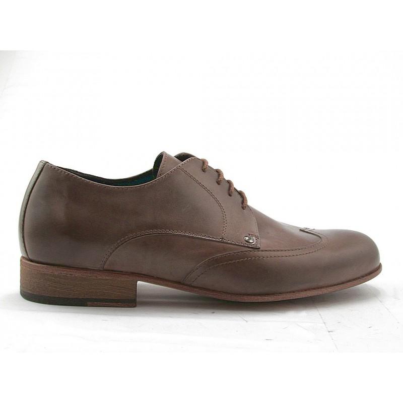 Zapato derby para hombre con cordones y punta de ala en piel de color gris pardo - Tallas disponibles:  47, 52