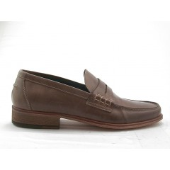 Men's mocasin in taupe leather - Available sizes:  47, 49, 50, 52