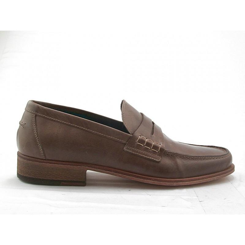 Mocassin pour hommes en cuir taupe - Pointures disponibles:  52